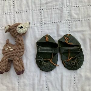 Other - Tiny green leather moccasins for baby.